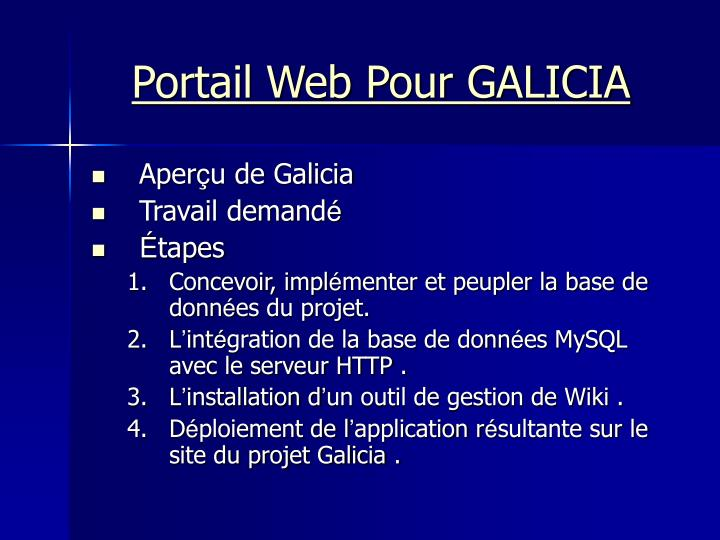Portail Web Pour GALICIA