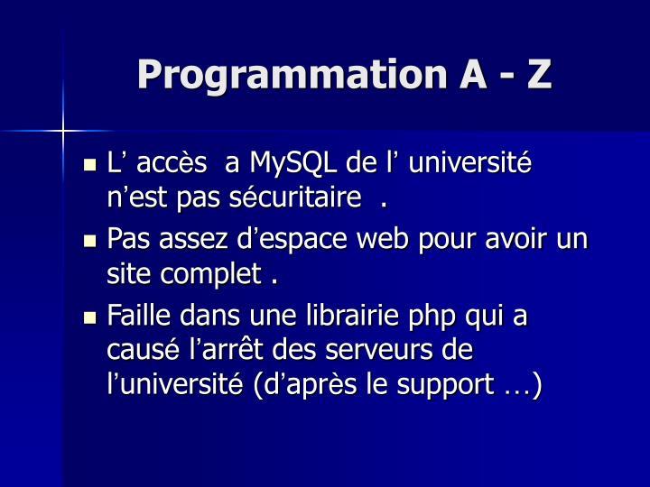 Programmation A - Z