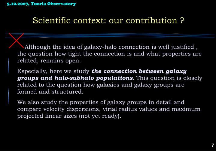 Scientific context: our contribution ?