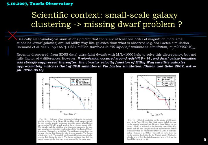 Scientific context: small-scale galaxy clustering -> missing dwarf problem ?