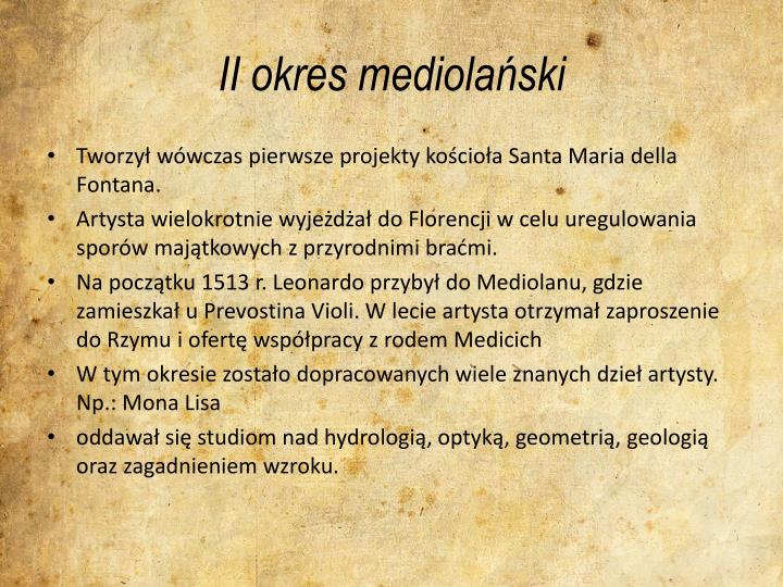 II okres mediolański