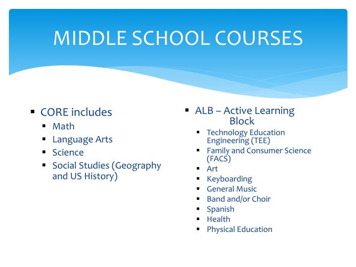 Middle school courses