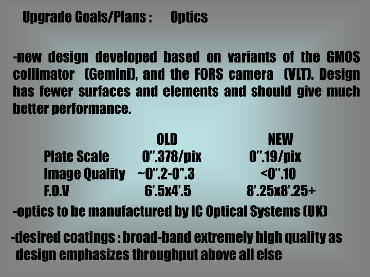 Upgrade Goals/Plans : 	Optics