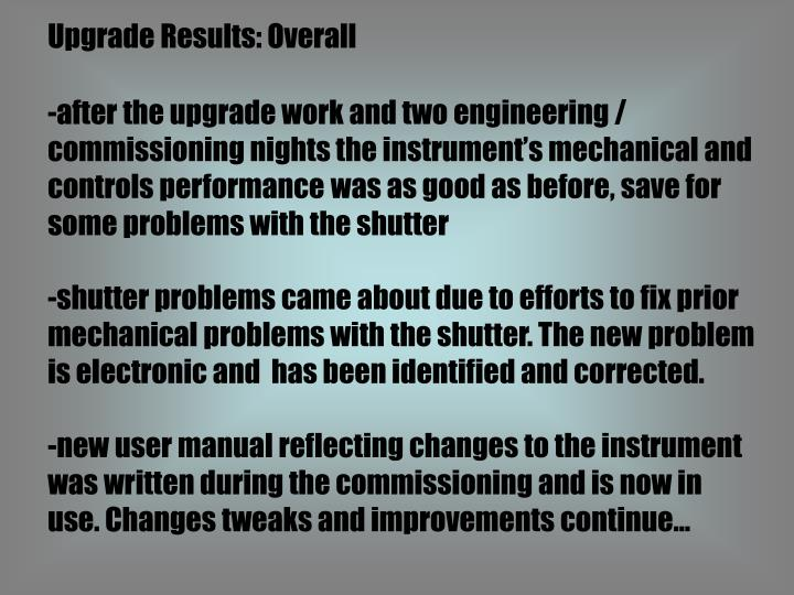Upgrade Results: Overall