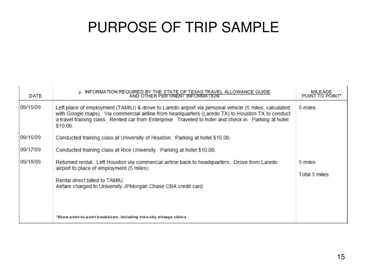 PURPOSE OF TRIP SAMPLE