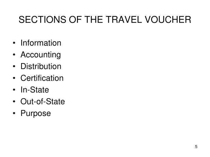 SECTIONS OF THE TRAVEL VOUCHER