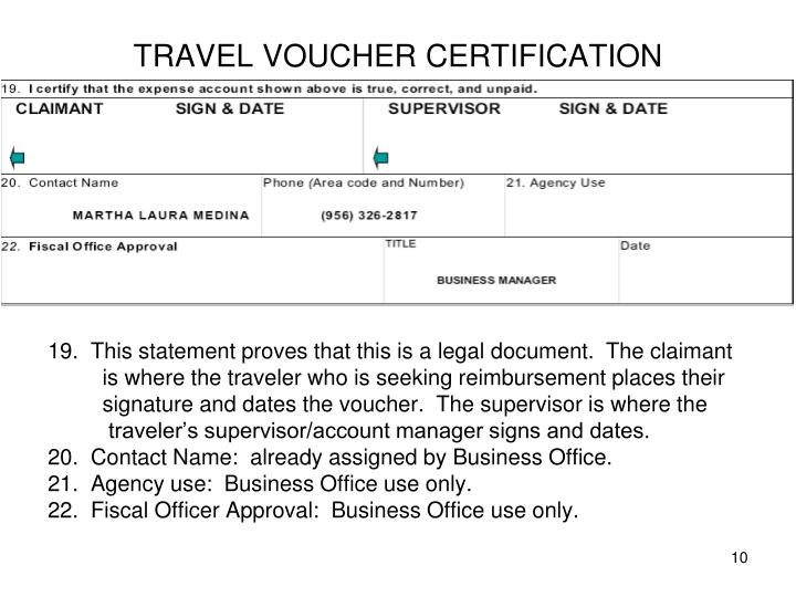 TRAVEL VOUCHER CERTIFICATION