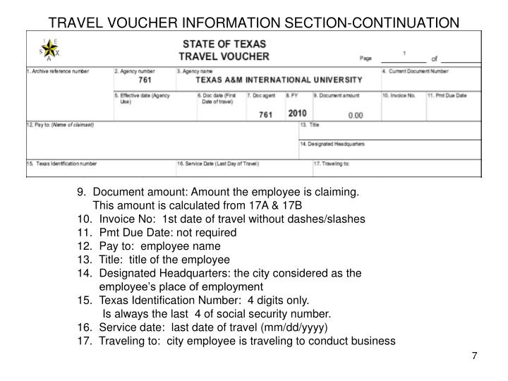 TRAVEL VOUCHER INFORMATION SECTION-CONTINUATION