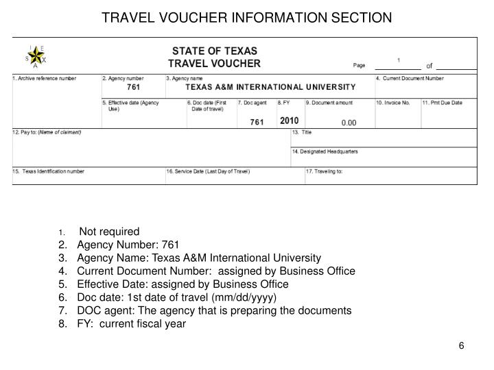 TRAVEL VOUCHER INFORMATION SECTION