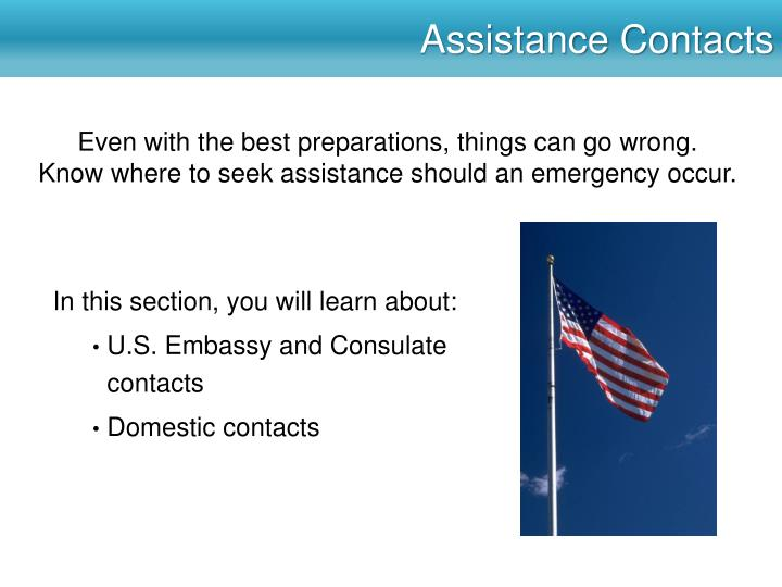 Assistance Contacts
