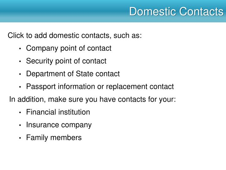 Domestic Contacts