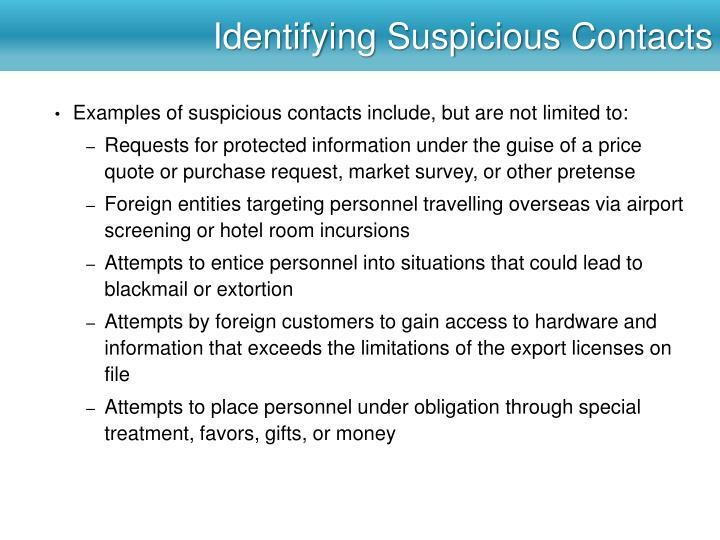 Identifying Suspicious Contacts