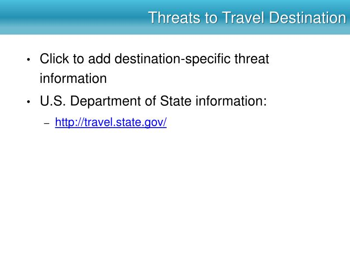 Threats to Travel Destination
