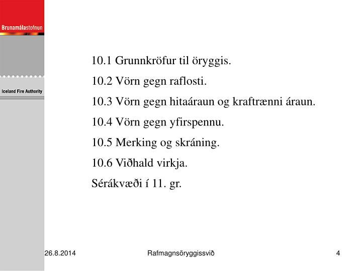 10.1 Grunnkröfur til öryggis.