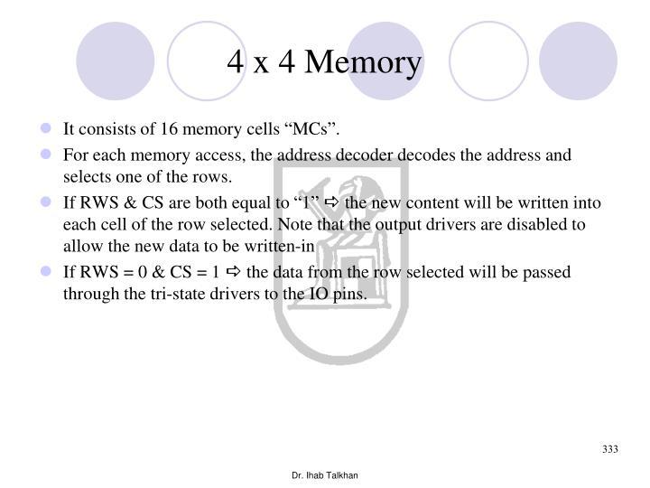 4 x 4 Memory