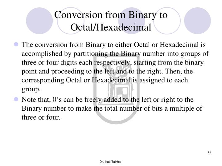 Conversion from Binary to Octal/Hexadecimal