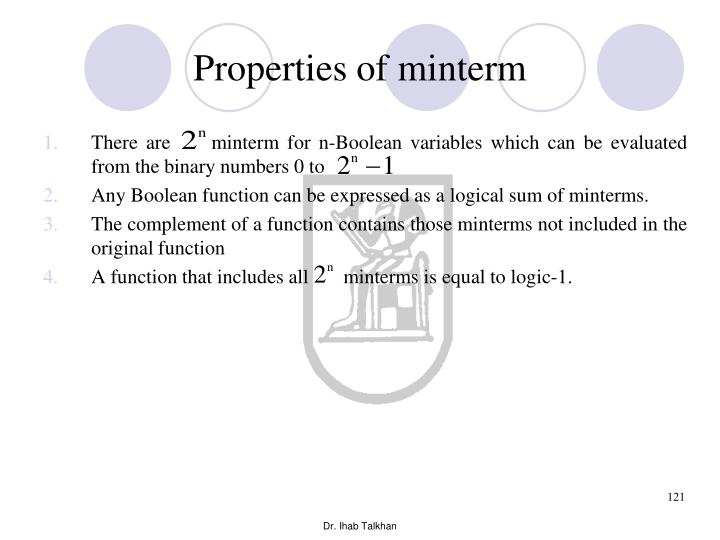 Properties of minterm