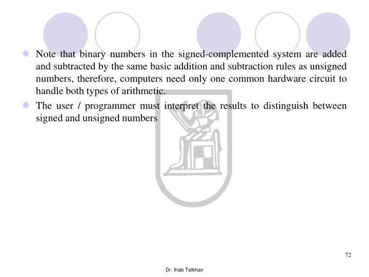 Note that binary numbers in the signed-complemented system are added and subtracted by the same basic addition and subtraction rules as unsigned numbers, therefore, computers need only one common hardware circuit to handle both types of arithmetic.