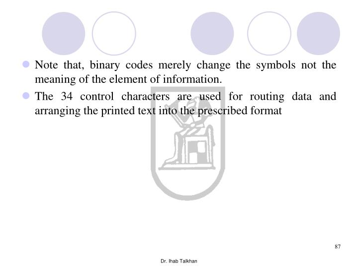 Note that, binary codes merely change the symbols not the meaning of the element of information.
