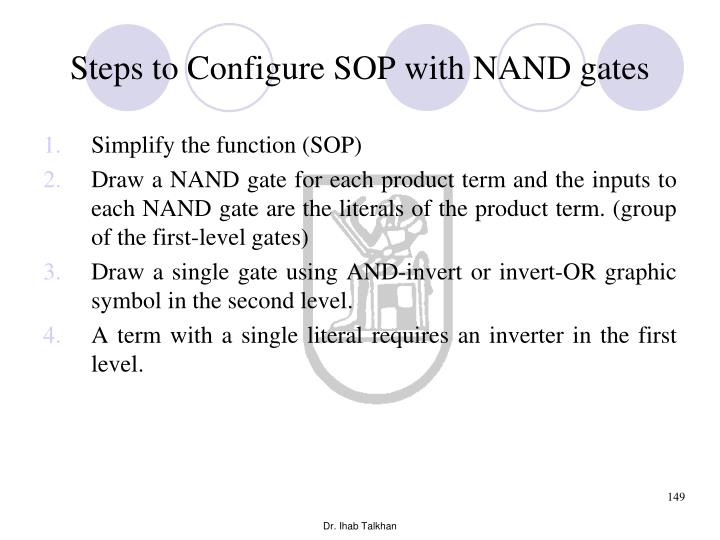 Steps to Configure SOP with NAND gates