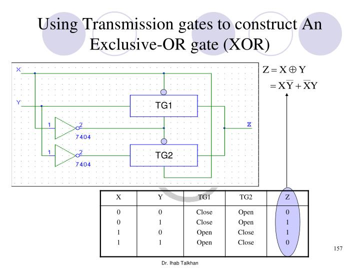 Using Transmission gates to construct An Exclusive-OR gate (XOR)