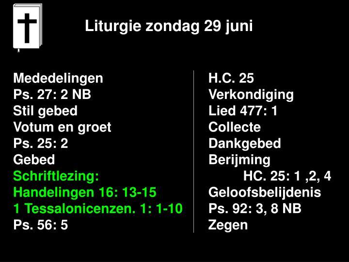 Liturgie zondag 29 juni