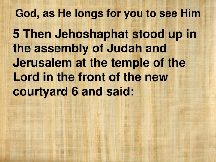 5 Then Jehoshaphat stood up in the assembly of Judah and Jerusalem at the temple of the Lord in the front of the new courtyard 6 and said: