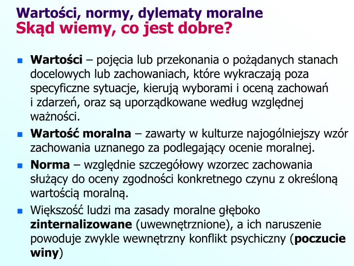 Wartoci, normy, dylematy moralne