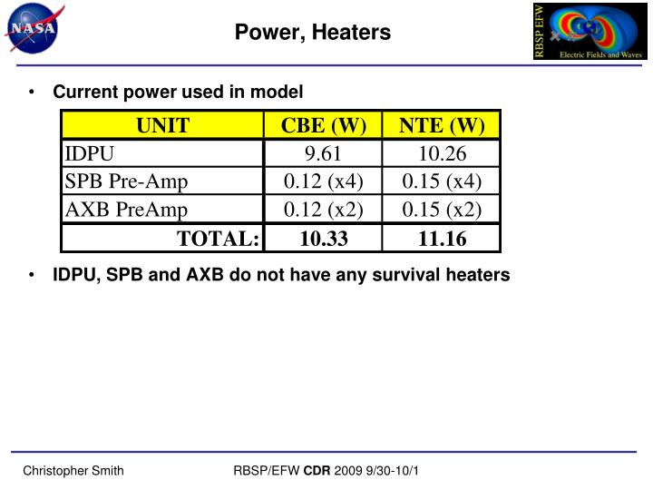 Power, Heaters