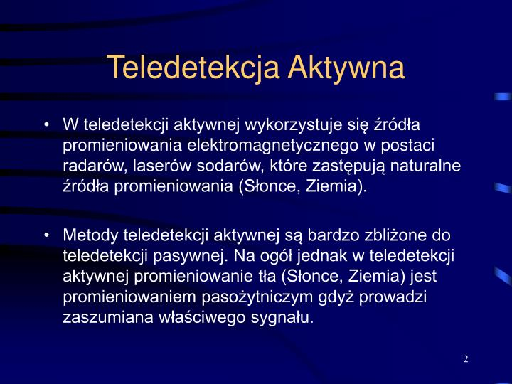 Teledetekcja Aktywna