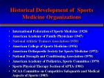 historical development of sports medicine organizations1