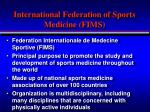 international federation of sports medicine fims