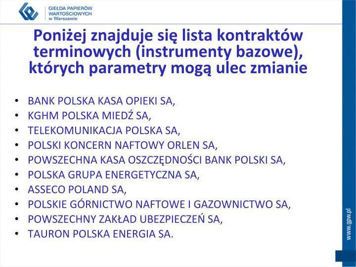 Poniżej znajduje się lista kontraktów terminowych (instrumenty bazowe),