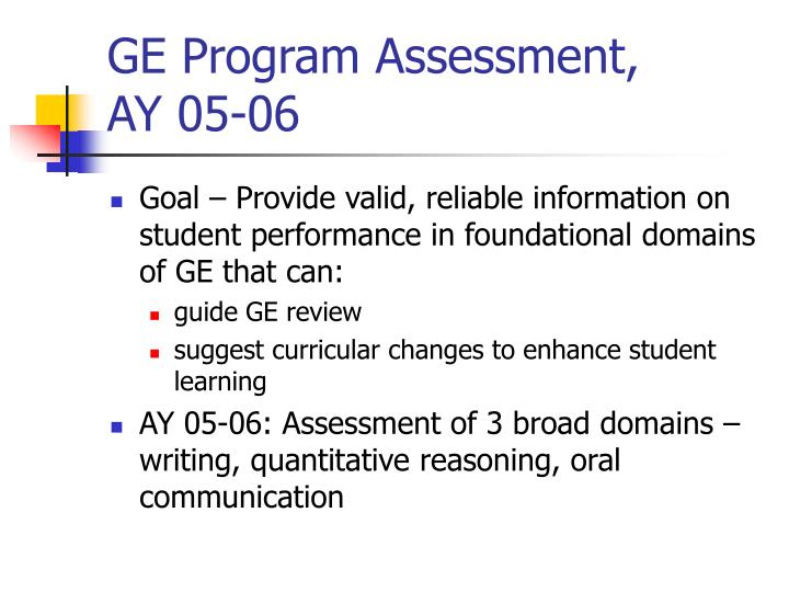 Ge program assessment ay 05 06