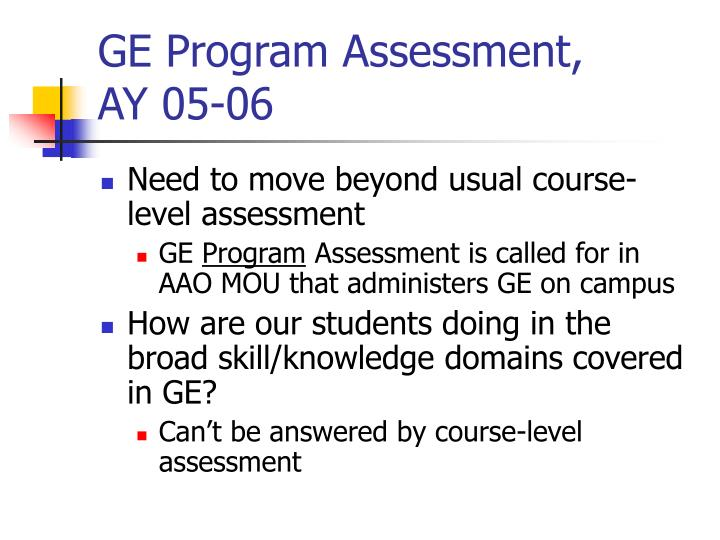 GE Program Assessment,
