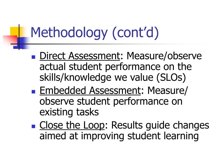 Methodology (cont'd)