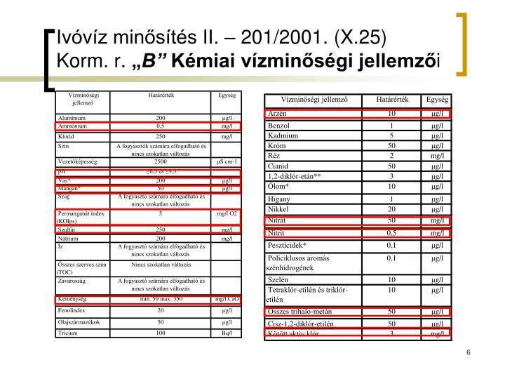 Ivóvíz minősítés II. – 201/2001. (X.25) Korm. r.