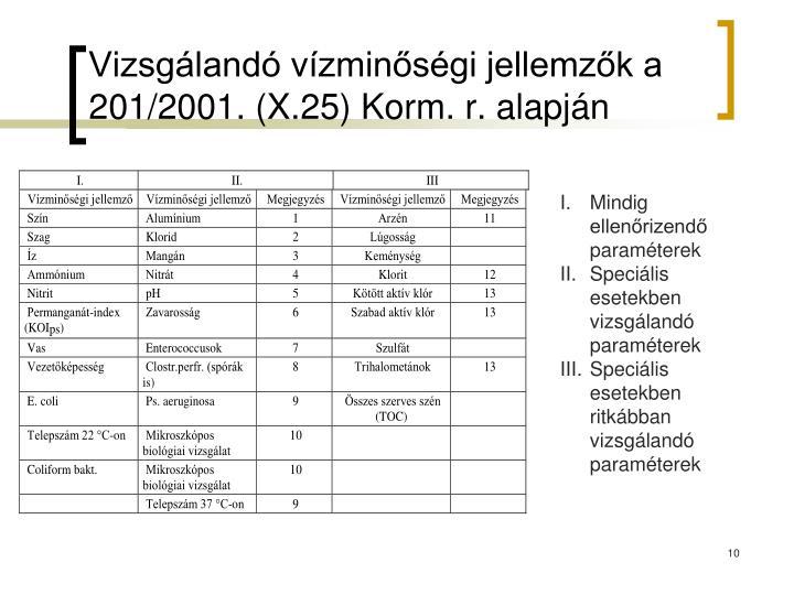 Vizsgálandó vízminőségi jellemzők a 201/2001. (X.25) Korm. r. alapján
