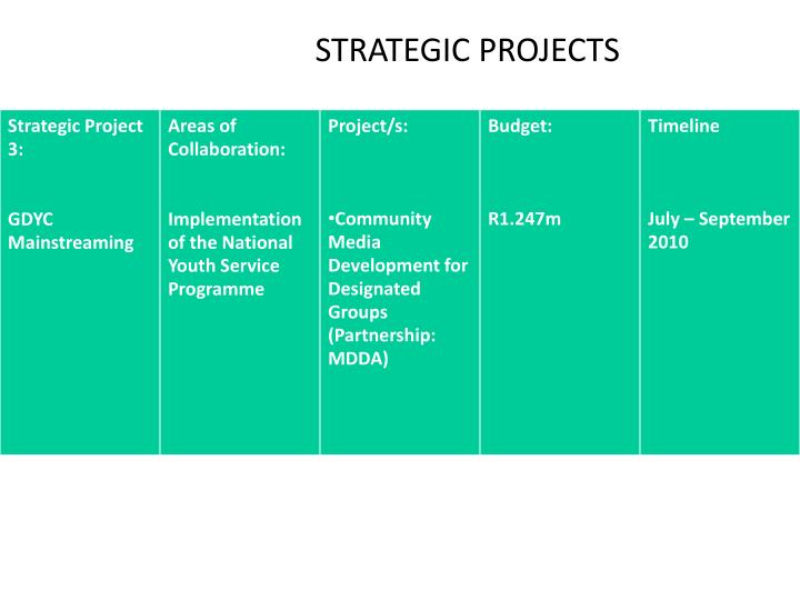 STRATEGIC PROJECTS