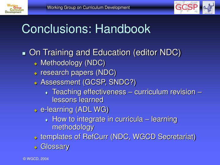Conclusions: Handbook