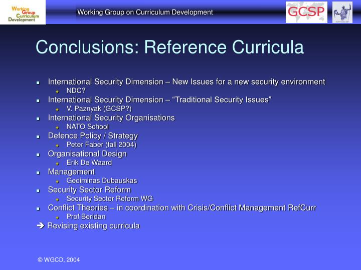 Conclusions: Reference Curricula