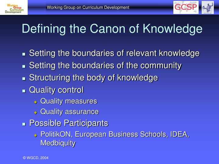Defining the Canon of Knowledge