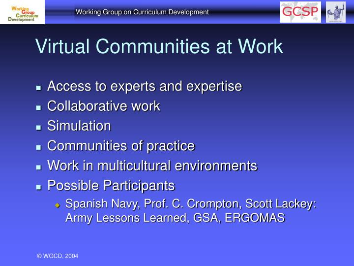 Virtual Communities at Work