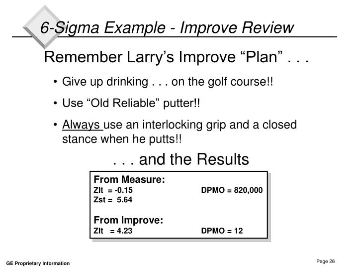 6-Sigma Example - Improve Review