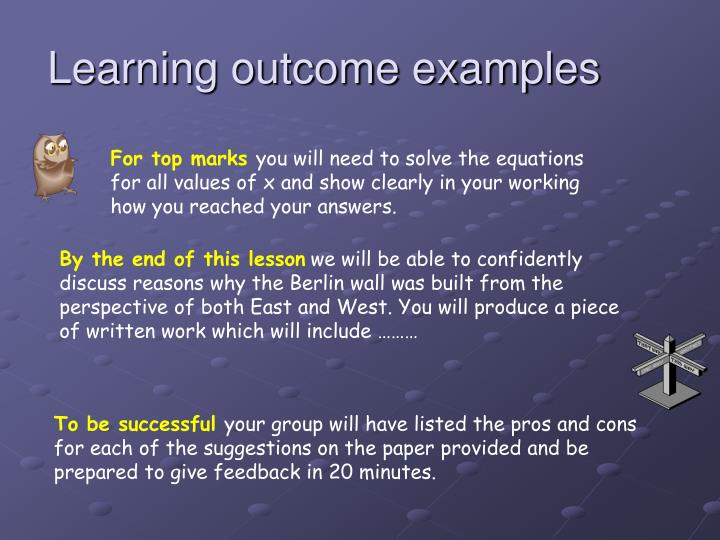 Learning outcome examples