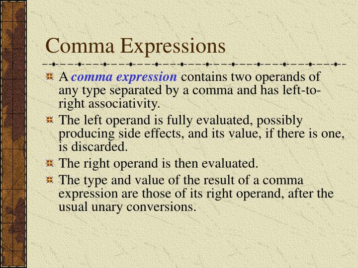 Comma Expressions