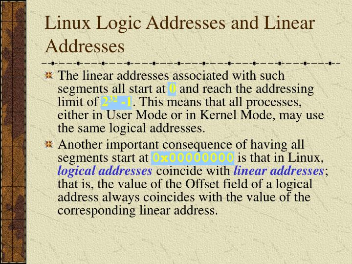 Linux Logic Addresses and Linear Addresses