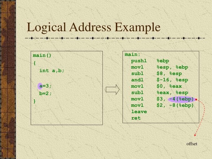 Logical Address Example