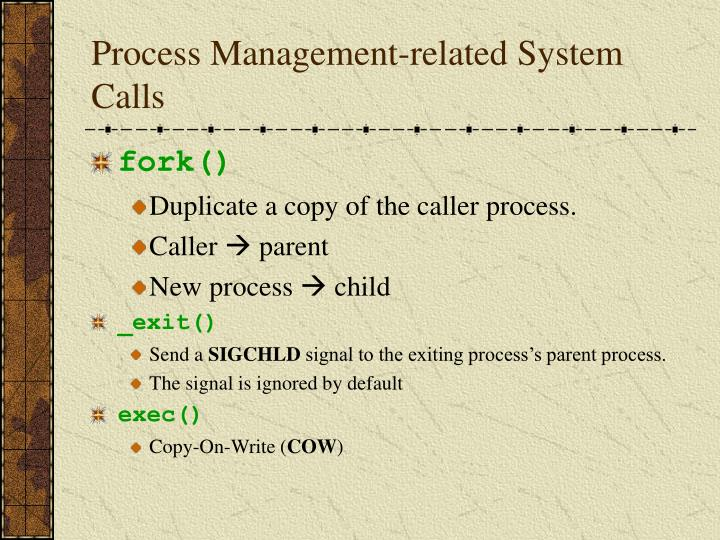 Process Management-related System Calls