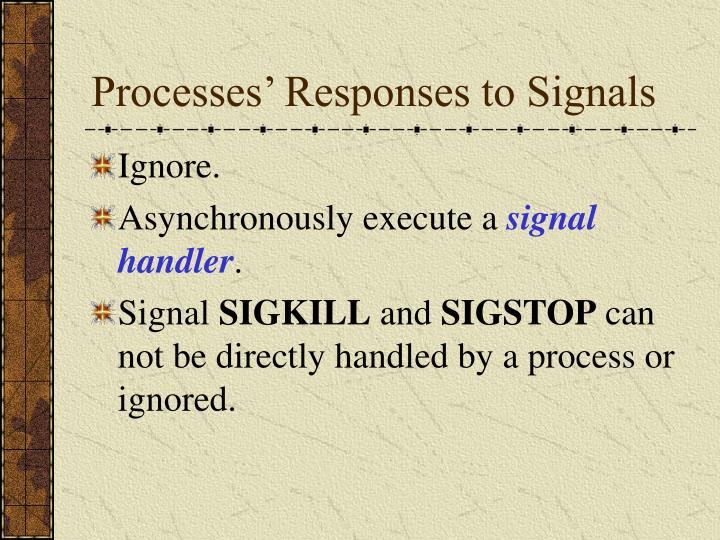 Processes' Responses to Signals